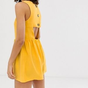 ASOS Dresses - Adorable ASOS Button Back Yellow Romper sz 6